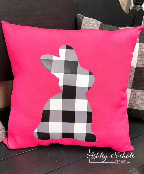 "18"" Custom-Black Buffalo Check Bunny Pillow"