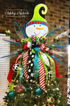 Tree Topper - Wooden Snowman with REDS