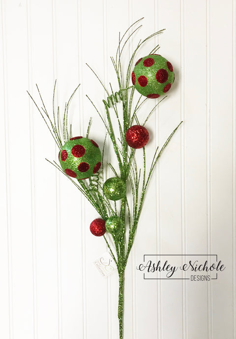 Tree Topper Picks - Whimsy Dot Ball Spray