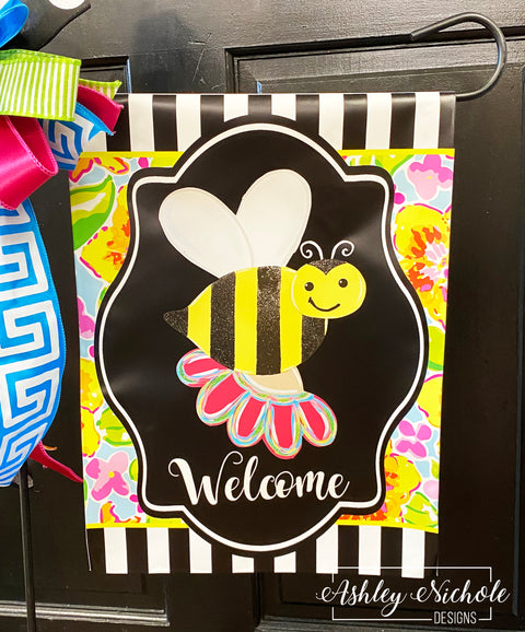 Bumble Bee & Spring Flower Garden Vinyl Flag