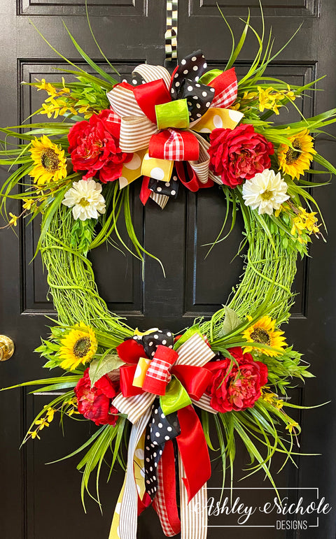 *TOP SELLER* Green Spring-Summer Floral Wreath Red Version