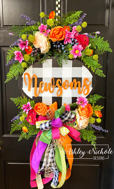 Spring Bouquet Oval Floral Wreath With Buffalo Check Plaque