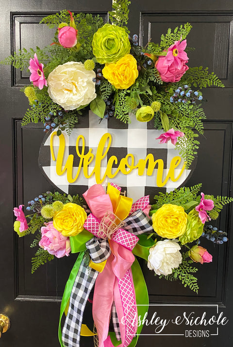 Spring Bouquet Oval Floral Wreath With Buffalo Check Plaque (YELLOW)