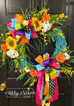 *TOP SELLER* Turquoise Round Floral Spring-Summer Wreath