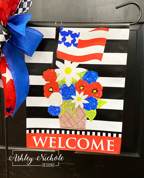 Patriotic Floral Basket with Flag Garden Vinyl Flag