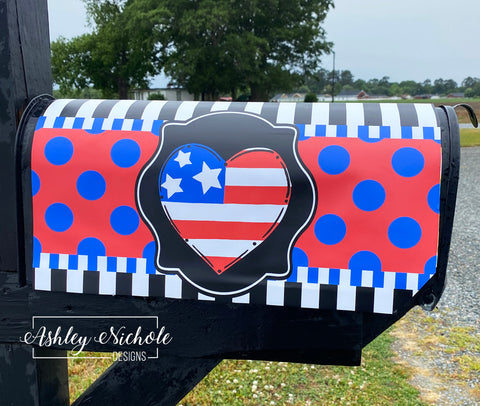 Patriotic Heart Magnetic Mailbox Cover
