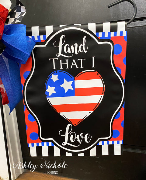 Patriotic Heart Garden Vinyl Flag