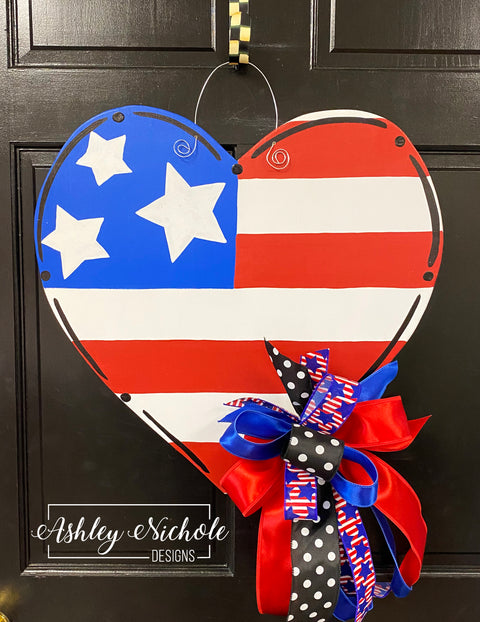 Patriotic Heart Door Hanger