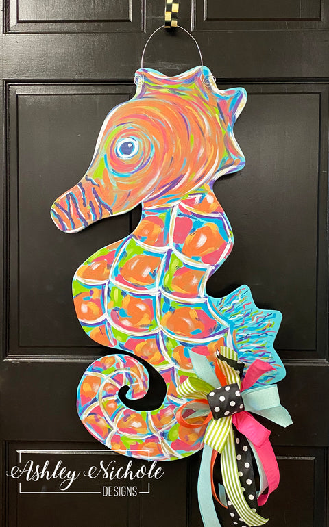 Abstract Colorful Seahorse Door Hanger