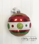 "Ornament Ball - 4"" GLITTER STRIPED, DOTTED BALL"