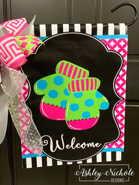 Mittens -Pink and Blue Garden Vinyl Flag