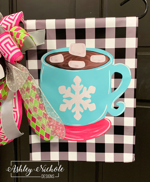 Hot Chocolate Mug Pink and Blue Garden Vinyl Flag