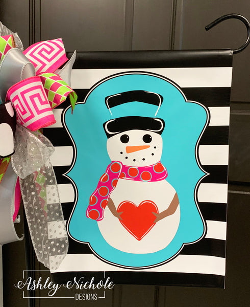 Snowman and Heart-Full Body-Colorful Vinyl Garden Flag