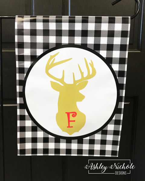 Buffalo Check Deer Initial Christmas Vinyl Garden Flag
