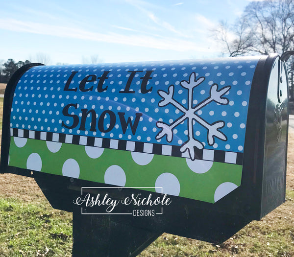 Snowflake (Green/Blue) Vinyl Mailbox Cover