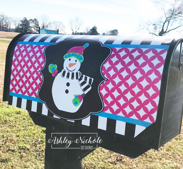 Snowman Full Body-Colorful Vinyl Mailbox Cover