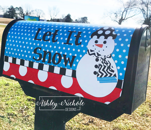 Snowman Full Body (Red/Blue) Vinyl Mailbox Cover