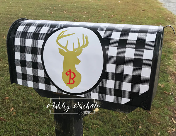 Buffalo Check Deer Initial Christmas Vinyl Mailbox Cover
