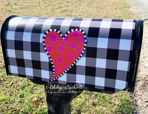 Funky Heart Valentine Buffalo Check Mailbox Cover