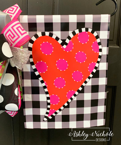 Funky Heart Valentine Buffalo Check Vinyl Flag