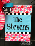 Hearts and Swirls-Last Name Garden Vinyl Flag