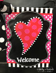 Funky Heart Valentine Black and White Garden Vinyl Flag
