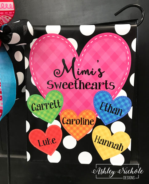 Sweetheart Family Hearts Garden Vinyl Flag