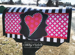 Funky Heart Valentine with Black and White Stripe Mailbox Cover
