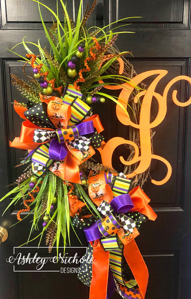 Halloween Initial Natural Wreath