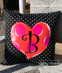 "18"" Custom-Heart Pink and Red with Black and White Dot Pillow"