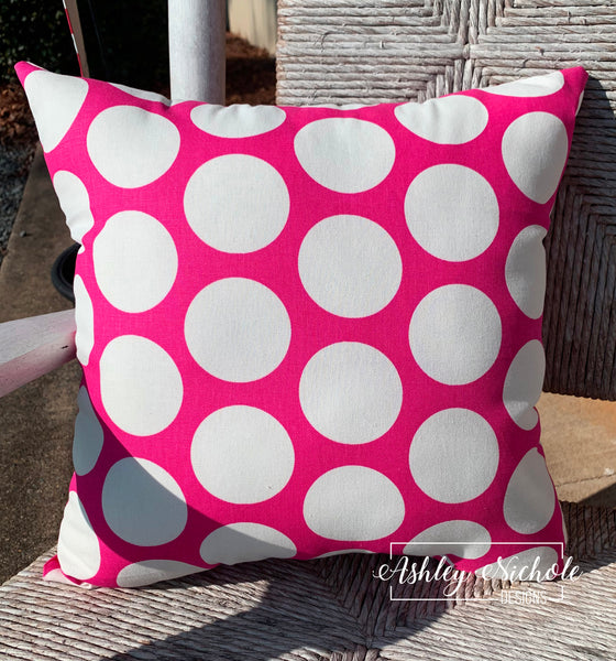 "18"" Outdoor Pillow-Dot Hot Pink and White"