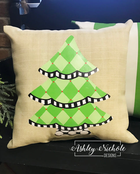 "18"" Custom-Christmas Tree Harlequin Pillow"