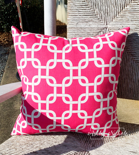 "18"" Outdoor Pillow-Hot Pink and White"