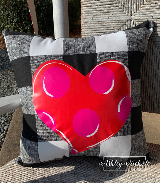 "18"" Custom-Buffalo Check-Black and White-Pink and Red Heart Pillow"