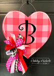 Buffalo Check PINK Heart Door Hanger