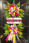 Striped Welcome Plaque Everyday Wreath - PINK & YELLOW