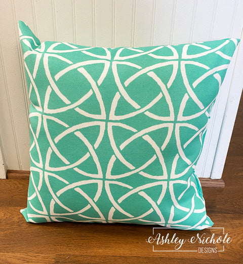 "18"" Outdoor Pillow-Mint Turquoise and White"