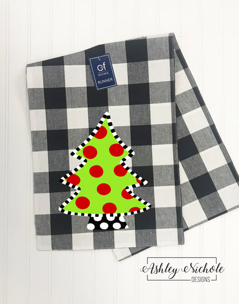 Table Runner - Polka Dot Christmas Tree Buffalo Check