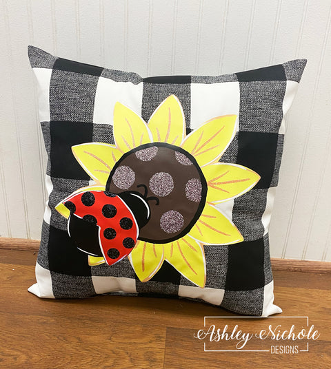 "18"" Custom Sunflower and Ladybug Pillow on Buffalo check Fabric"