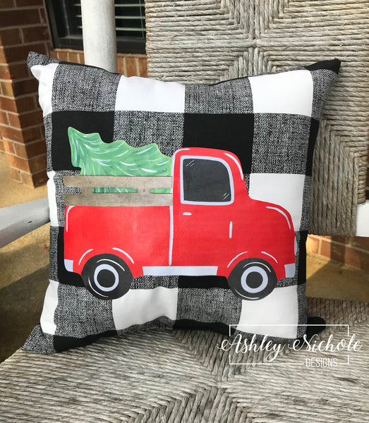 "18"" Custom-Tree Truck Pillow Black/White Buffalo Check"