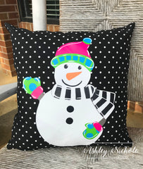 "18"" Custom - Snowman - Colorful Full Body - Pillow"