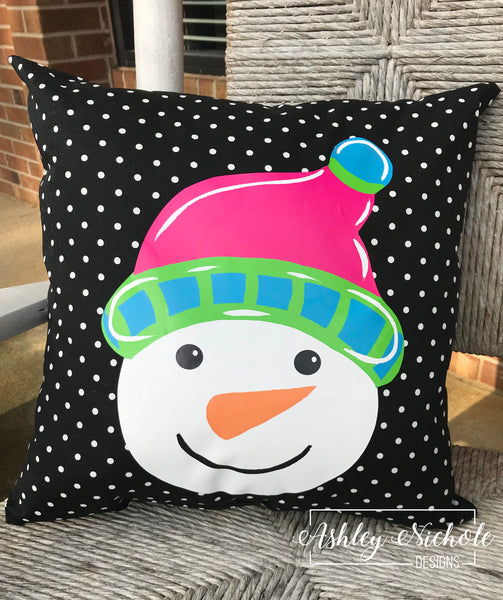 "18"" Custom - Snowman Head - Colorful Pink - Pillow"