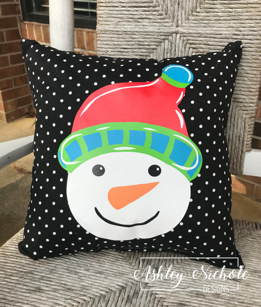 "18"" Custom - Snowman Head - Colorful Red - Pillow"