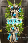 Buffalo Check Welcome Plaque Everyday Wreath - TURQUOISE