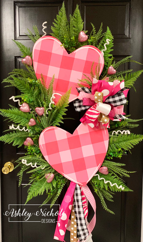 Double Pink Buffalo Check Heart Swag Wreath