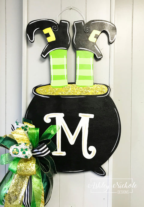 St. Patrick's Day Leprechaun Pot of Gold Door Hanger