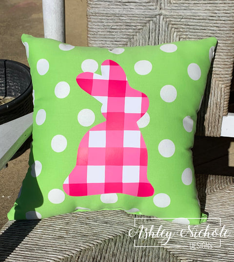 "18"" Custom-Pink Buffalo Check Bunny Pillow"