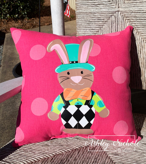 "18"" Custom-Funky Bunny Pillow"