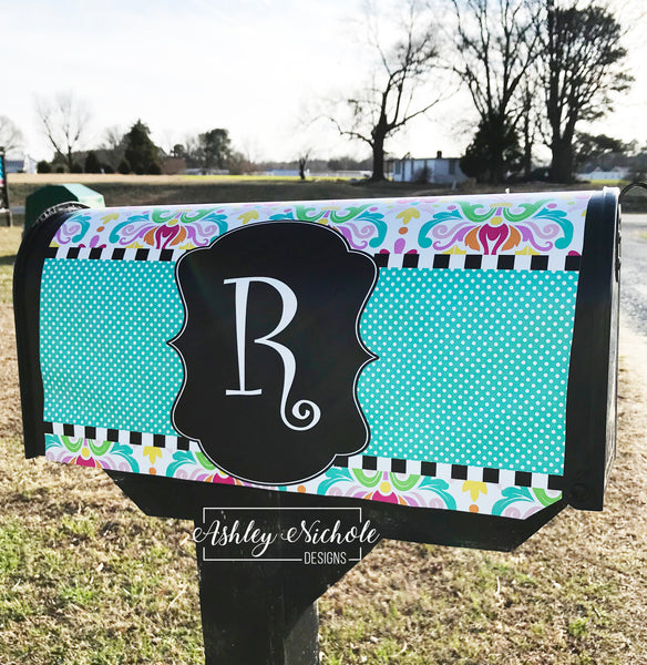Colorful Initial Vinyl Mailbox Cover