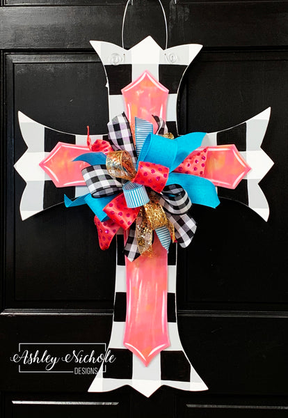 Scalloped Cross-Layered-Buffalo Check-Door Hanger